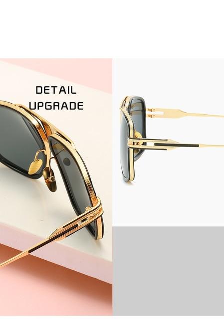 Gafas De Sol con gradiente De Metal para hombre y mujer, anteojos De Sol con montura cuadrada, De marca De diseñador, Estilo vintage, en color negro De talla grande 5