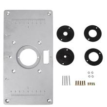 Aluminum Router Table Insert Plate w 4 Rings Screws For Woodworking Benches LS #8217 D Tool cheap BENGU CN(Origin) NONE