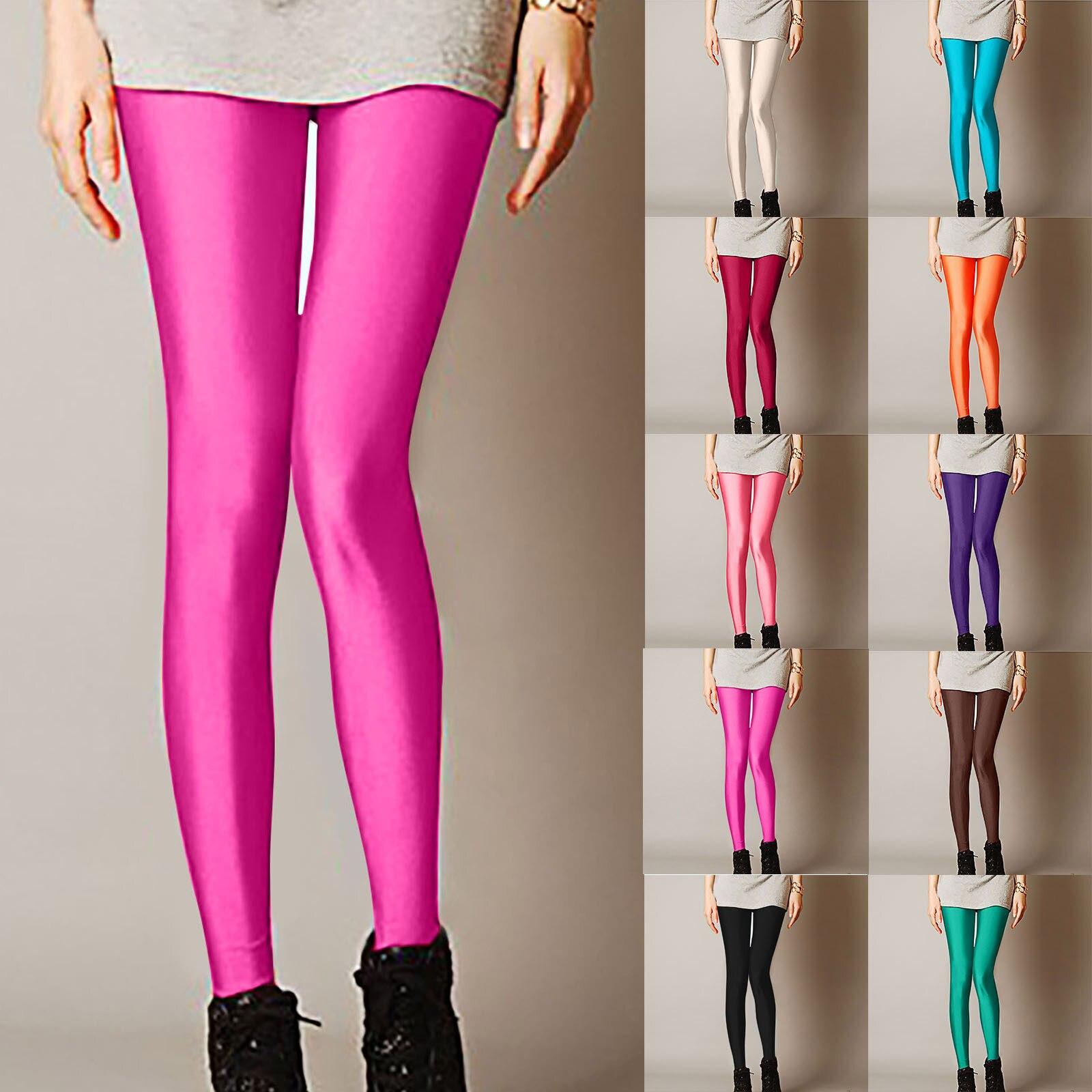Женские блестящие леггинсы, Лидер продаж, леггинсы, однотонные флуоресцентные эластичные повседневные брюки из спандекса, блестящие легги...