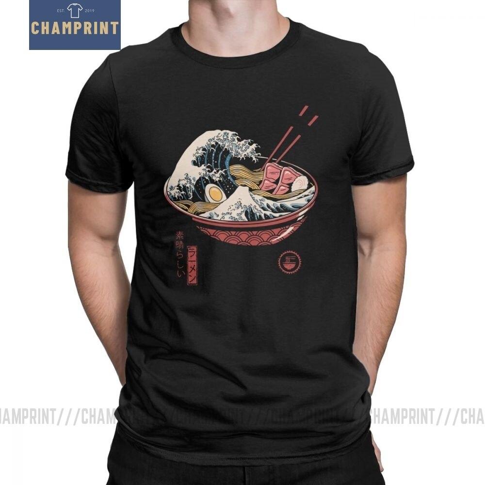 Große Ramen Welle männer T Shirt Nudeln Die Große Welle Von Kanagawa Baumwolle Tees O Neck Japan Japanischen T-Shirt plus Größe Kleidung