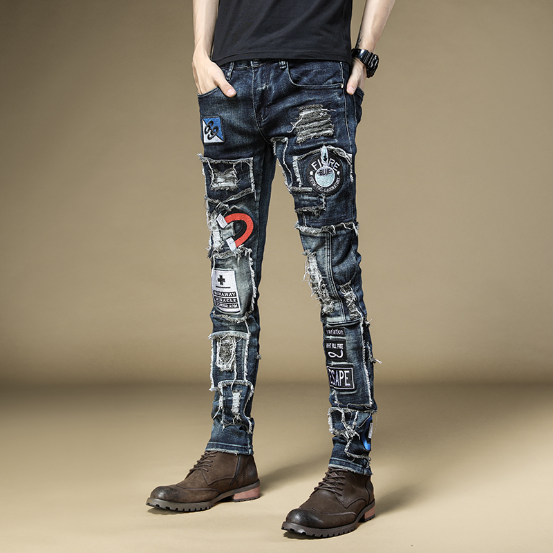Free Shipping New men's male denim jeans Autumn embroidered slim feet pants fashion hip-hop rock tide casual trousers 73%cotton
