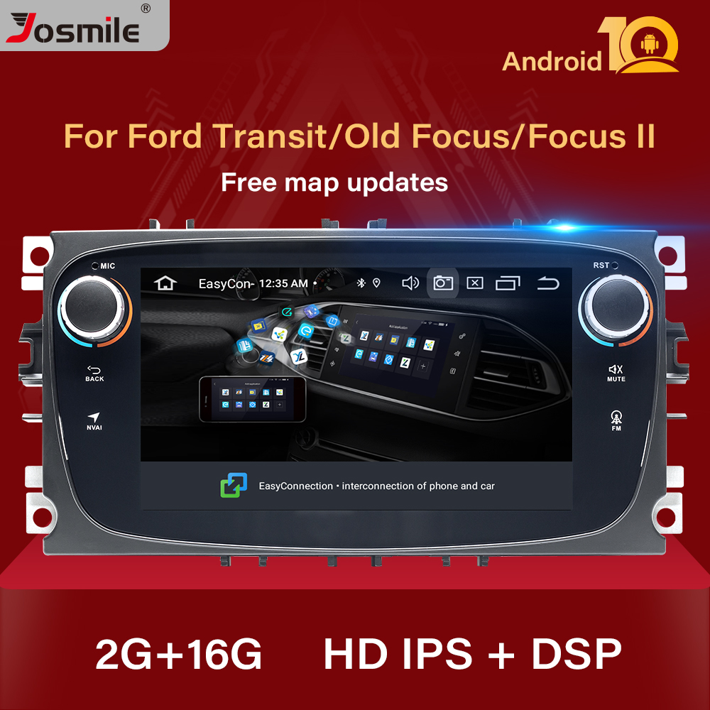 DSP 2din Android 10 Car Radio For <font><b>Ford</b></font> Focus 2 3 mk2 Kuga Mondeo 4 Fiesta Transit Connect S-<font><b>C</b></font> <font><b>MAX</b></font> head unit <font><b>GPS</b></font> Audio Multimedia image