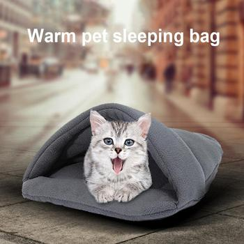 Thick Fleece Warm Dog Cat Tent Cave Nest Bed Slipper Shape Pet Sleeping Bag Pet Bed Mats soft bedroom image