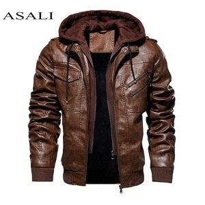 Men Hooded Jacket And Coat Autumn Winter Warm Casual Leather Jackets PU Coats Slim Fit Outerwear Male Zipper Hoody Sportswear
