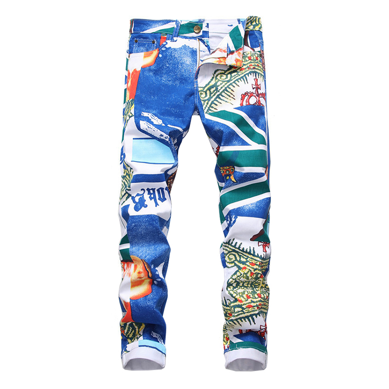 Sokotoo Men's Fashion Blue Printed Jeans Slim Fit Straight Stretch Pants