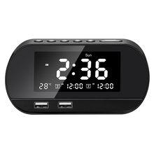 Despertador de cabeceira rádio sem fio, display lcd, configurações de despertador duplo, função de exibição de temperatura