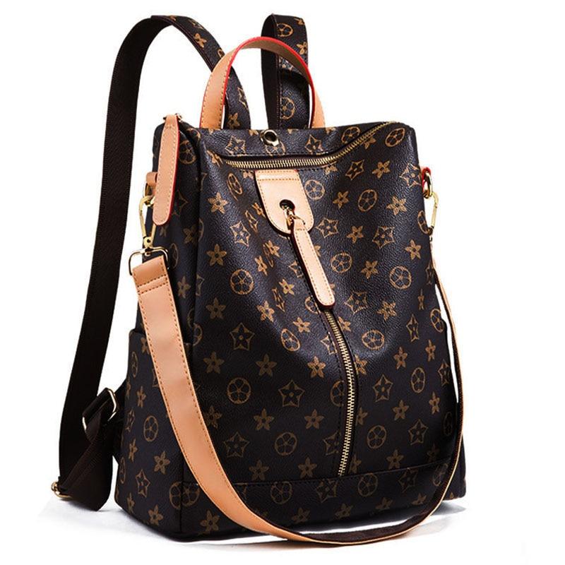 Backpack Lady Large Retro Backpack Print Pattern Leather Solid Color Girl Backpack Travel Backpack Shoulder