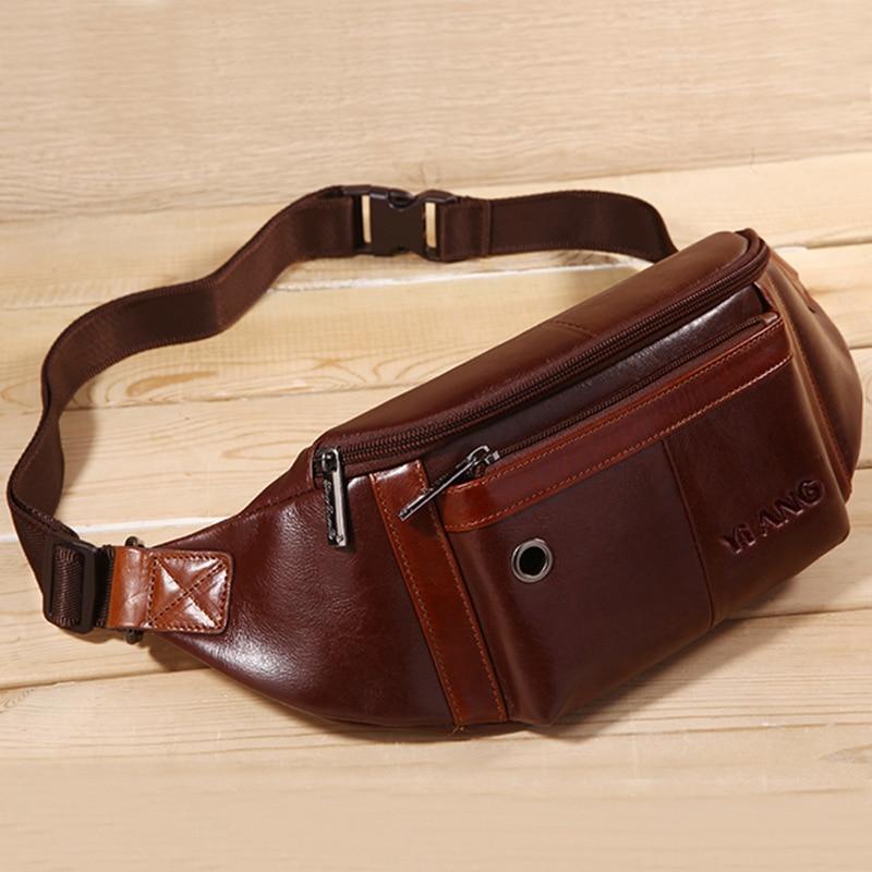 Men's Running Bag Multi-functional Oblique Bag Genuine Leather Mini Chest Bag Mobile Phone Bag Korean-style Stylish