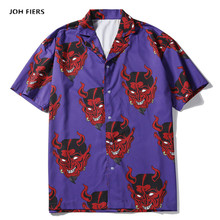 hip hop streetwear shirts men Devil Full Printing short sleeve summer floral rapper harajuku loose hawaiian korean camisa