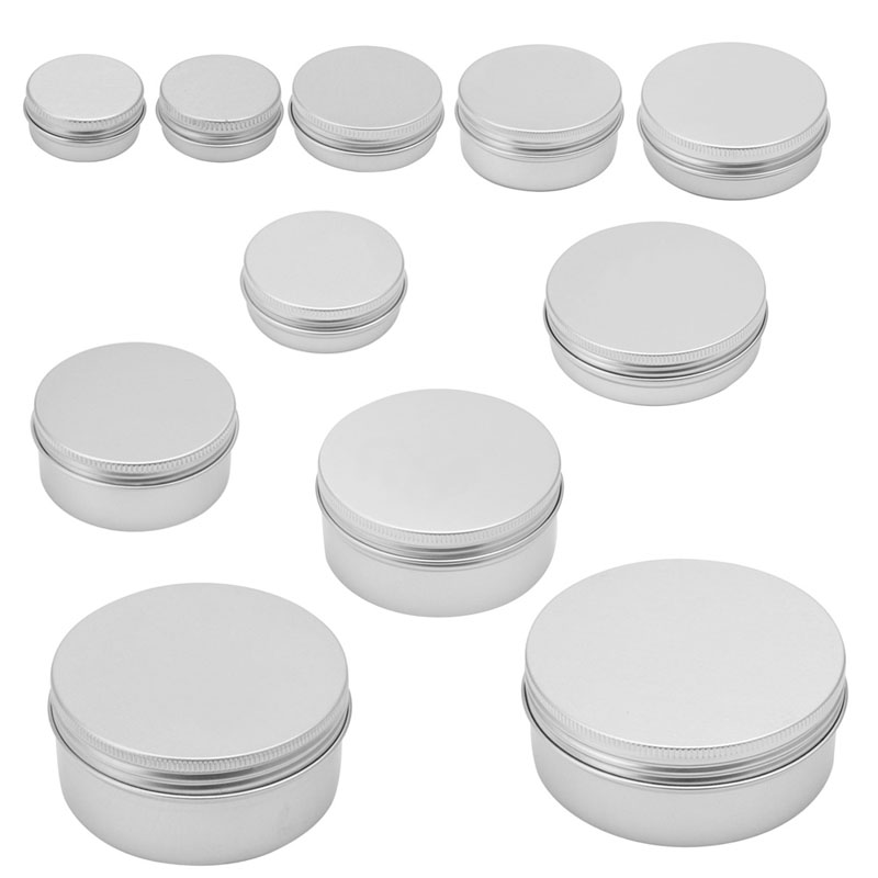 10/15/30/50/60/80/100/150/200/250 ML Durable Aluminum Cosmetic Pot Lip Balm Jar Containers Oil Wax Empty 7x6cm
