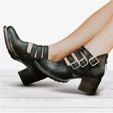 women chunky high heels shoes  woman ladies vintage girl cut out gladiator wxz125