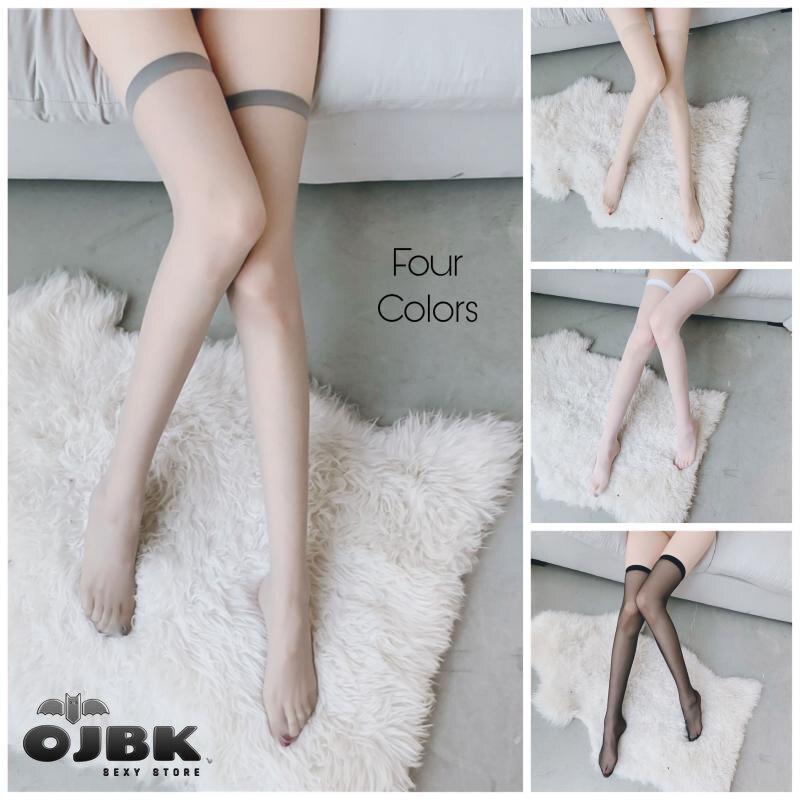 OJBK-medias transparentes por encima de la rodilla, negras, blancas, grises, Color de piel, Sexy, con tirantes, de seda, hasta el muslo, medias sexuales eróticas
