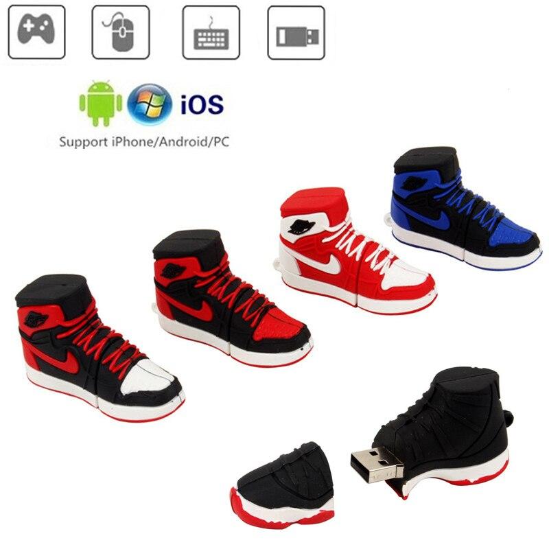 Sneakers Usb Flash Drive 64gb Black Mini USB 3.0 Pendrive 4GB 8GB 16GB 32GB U Disk Pen Drive 128gb Flash Stick Key Free Shipping