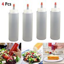 Needle-Nosed-Bottle Plastic with Sauce Leak-Proof-Cap 250ml 4PCS