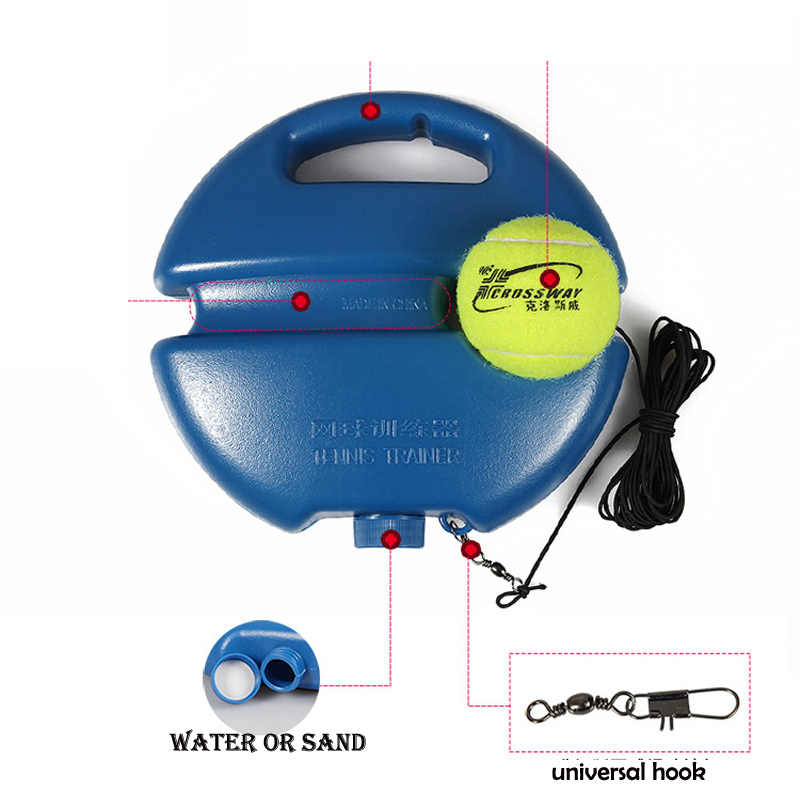 Ağır görev tenis eğitim yardımları tabanı ile elastik halat topu uygulama kendinden hizmet ribaund tenis eğitmeni ortağı Sparring cihazı
