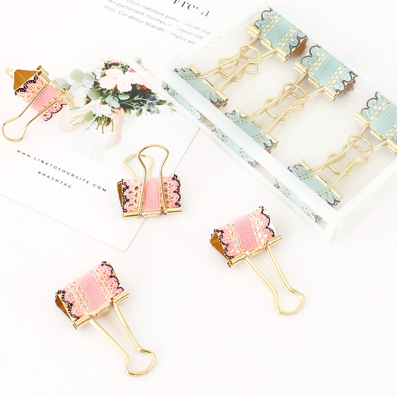 TUTU 25mm Cute Kawaii Bud Silk Metal Office School Binder Clip Set Gold Student Paper Document Organizer Clip Stationery H0362