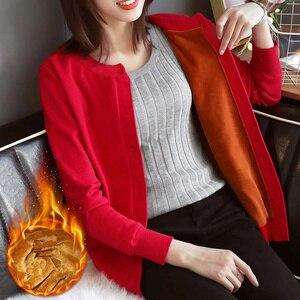 Image 3 - חורף בתוספת קטיפה סרוג קרדיגן נקבה קצר סוודר מעיל נשים ארוך שרוול Jumper סוודרים חם קרדיגן נשים חולצות C3921