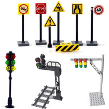 City traffic light street signs Indicator brick Road cross Model Kits building block Accessory Compatible All Brands signpost cheap leduo Unisex 6 years old Small building block(Compatible with Lego) Certificate train track Not for children under 3 years