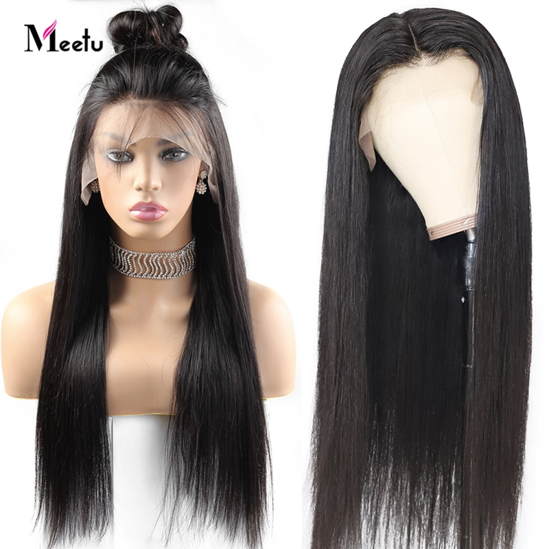 Meetu Indian Straight Lace Front Wig With Baby Hair 13x4 Glueless Lace Front Human Hair Wigs Pre Plucked For Women Remy Wigs