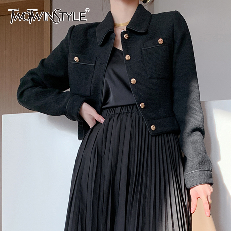 TWOTWINSTYLE Casual Black Short Tops For Women Lapel Long Sleeve Large Size Jacket Female 2020 Fall Fashion New Clothing Tide 1