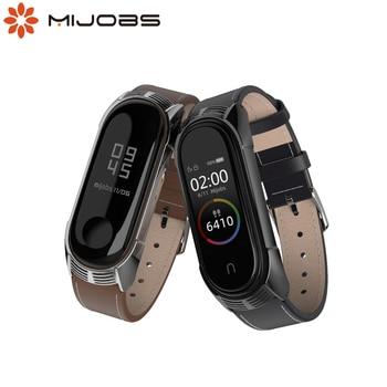 Genuine Leather Bracelet for Mi Band 4 Strap for xiaomi Mi Band 4 correa mi band 3 Strap TF Style Smart Watchband Accessories