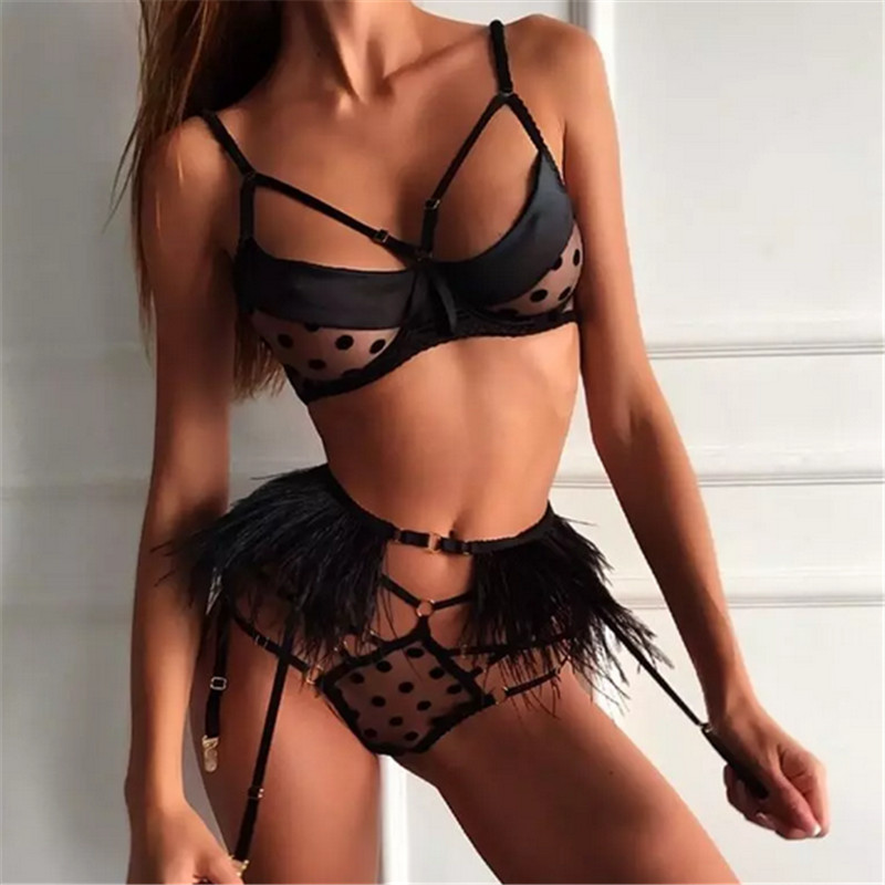 Sexy Off Shoulder Swimwear Women Dot Mesh Satin Spliced High Waist Bikini Set Black Swimsuit Push Up Biquini Bathing Suit