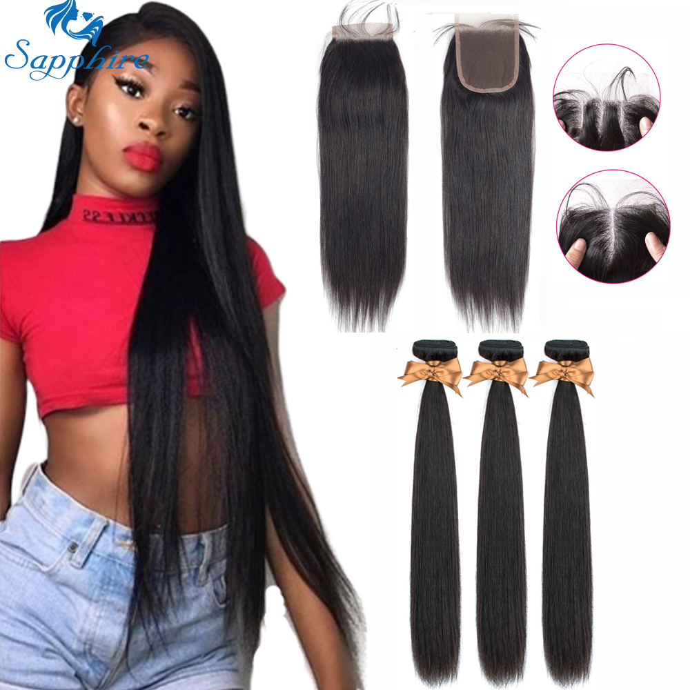 Sapphire Human Hair Bundles With Closure Peruvian Human Hair Extension 3 Bundles With Closure Human Hair Bundles With Closure