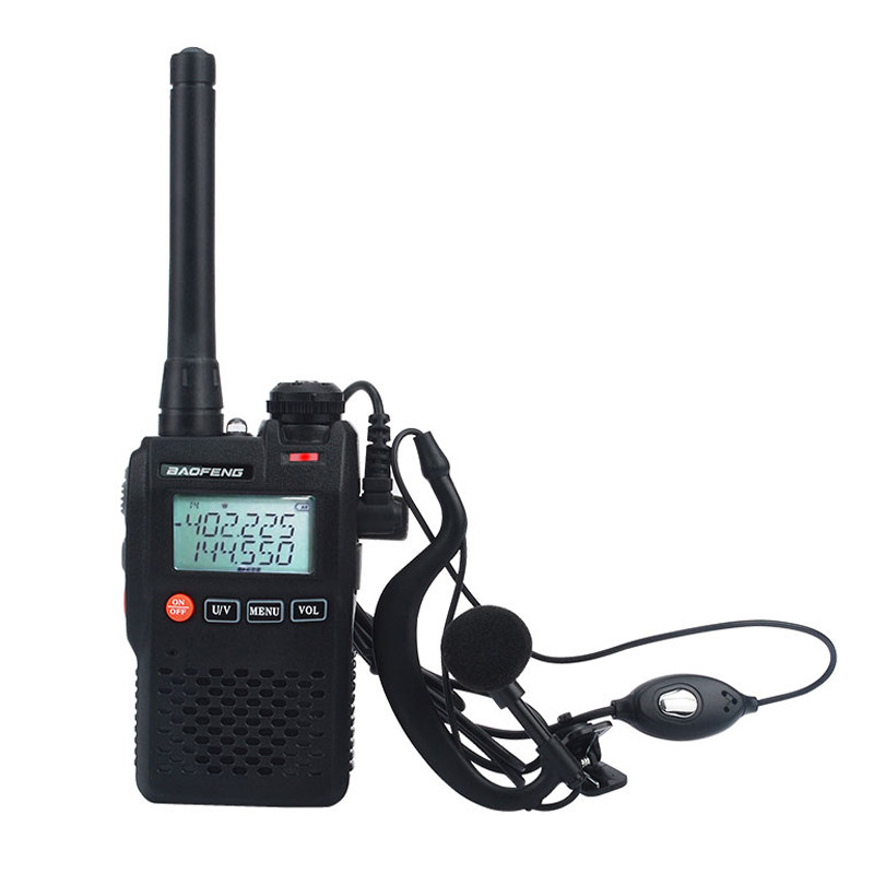 Baofeng Talkie Walkie UV-3R mini pocket VOX two way radio Dual Band dual display 2W 99CH FM radio with handsfree