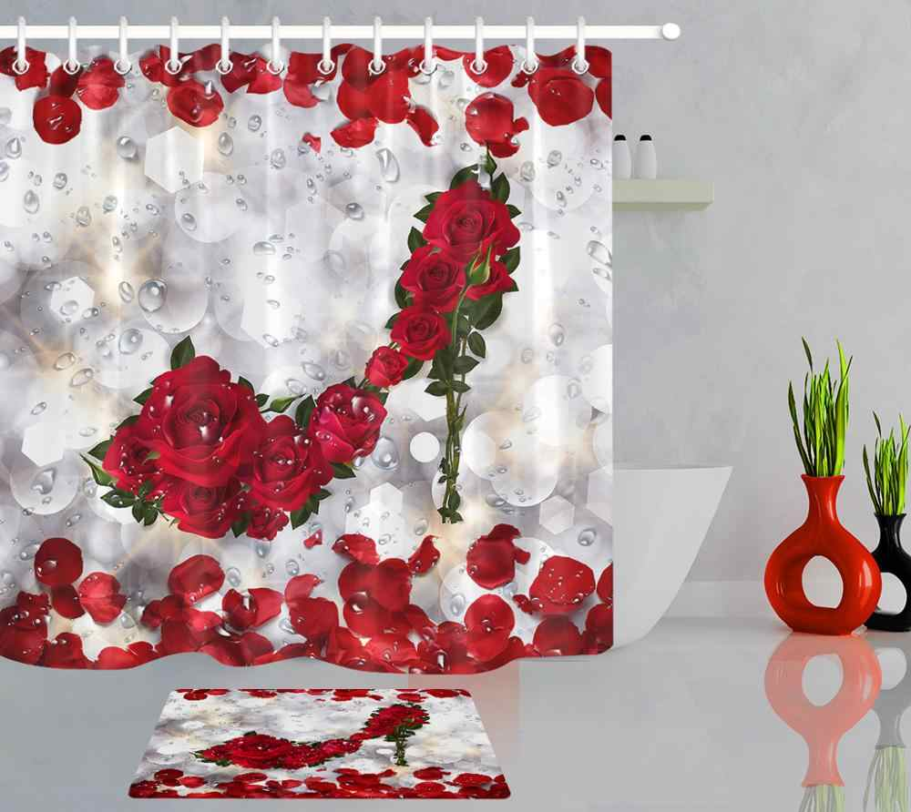 valentine s day shower curtain red rose flower petal high heels polyester fabric bath curtains bathroom decoration with hooks