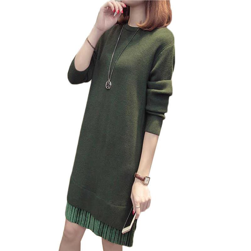 여성 드레스 가을 겨울 니트 스웨터 풀오버 새로운 패션 바느질 느슨한-긴팔 긴 스웨터 드레스 여성 의류 k1041