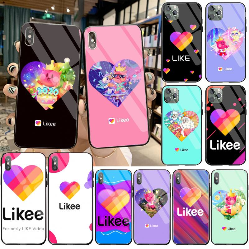 2020 popular social APP Likee Phone Case Tempered Glass For iPhone 11 Pro XR XS MAX 8 X 7 6S 6 Plus SE 2020 case image