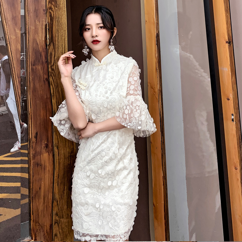 White Lace Female Evening Prom Gown Women Lantern Sleeve Cheongsam Noble Formal Party Chinese Dress Silm Qipao Vestidos