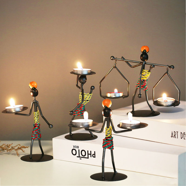 Ins Metal Candlestick Abstract Character Statue Candle Holder Decoraction Ornaments Handmade Figurines Home Decoration Art Gift 5