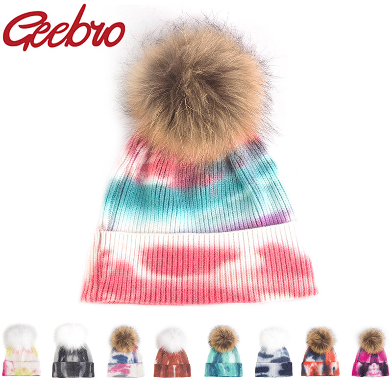 Geebro Adult Warm Winter Viscose Tie Dye Soft Beanie With Large Raccoon Real Fur Pom Pom Hats Knitted Ski Outdoor Caps Bonnet