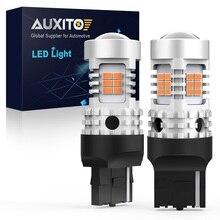 AUXITO 2x T20 W21W Led WY21W 7440 7440NA LED Turn Signal Light Bulbs Canbus Error Free No Hyper Flash 26SMD Amber Yellow 12V Led
