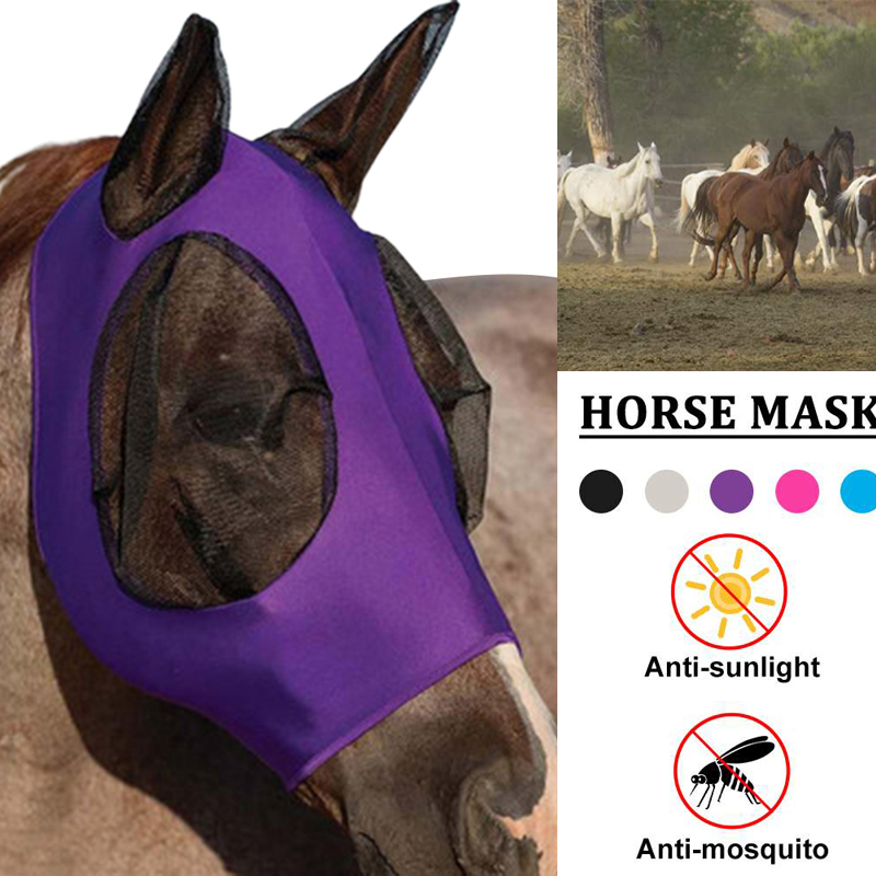 Anti Mosquito Repellent Horse Mask Mesh Horsefly Flying Mask Breathable And Comfortable Equestrian Supplies