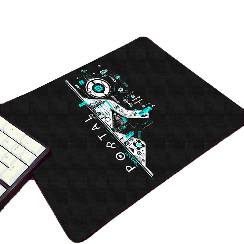 Small Size Black Rubber Mouse Pad Mat Video Game Portal Series Gaming Table Mat For Lovers Decorate Pc Computer Desktop