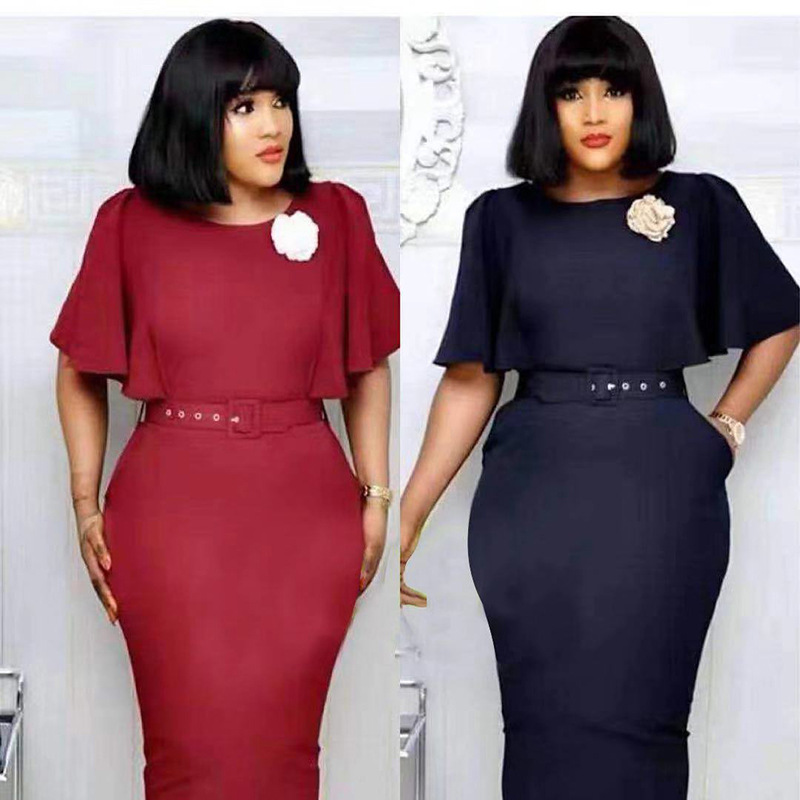 2019 Elegent New Arrival Fashion African Women Beauty Plus Size O-neck Knee-length Dress M-XXL