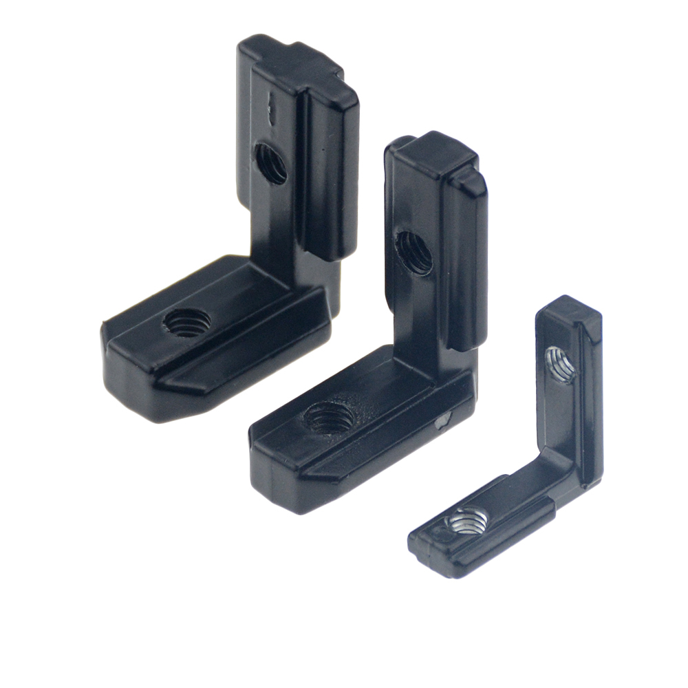 10pcs / lot 2020 black L shape inside corner bracket with screw and wrench for 2020 <font><b>3030</b></font> 4040 aluminum extrusion profile image