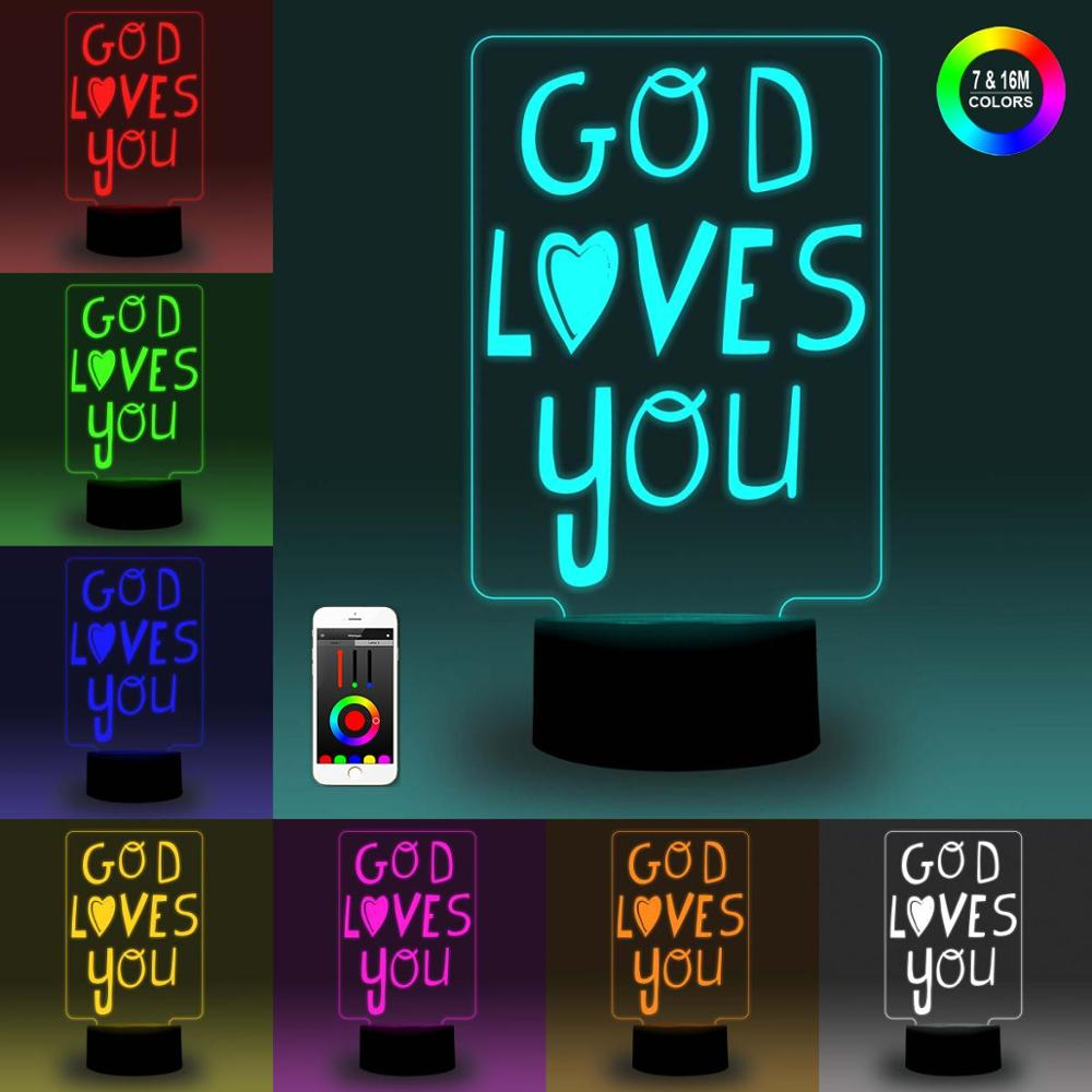 NiteApps 3D God Loves You Night Light Desk Table Illusion Decoration Lamp Holiday Birthday Gift APP/Touch Control
