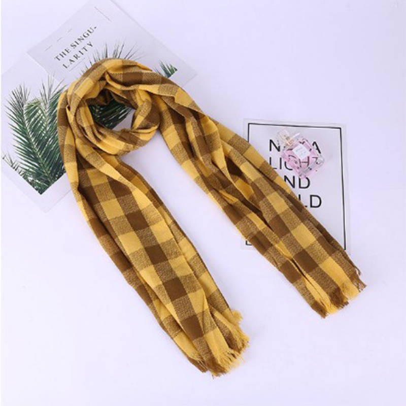 Cotton Plaid Scarf Knitted Triangle Scarf Female Plaid Warm Imitation Cashmere Scarf Female Soft Shawl Classic