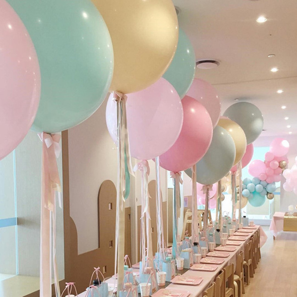 5pcs 18/24inch Large Pastel Round <font><b>Latex</b></font> <font><b>Balloons</b></font> <font><b>Big</b></font> Beautiful Birthday Party Inflatable Helium Macaron <font><b>Balloons</b></font> Arch Decoration image