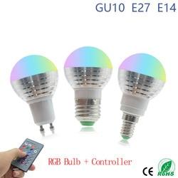 1 шт. 85-265 в E27 E14 RGB Светодиодная лампа 16 цветов Волшебная светодиодная Ночная лампа GU10 с регулируемой яркостью сценический праздничный свет + ...