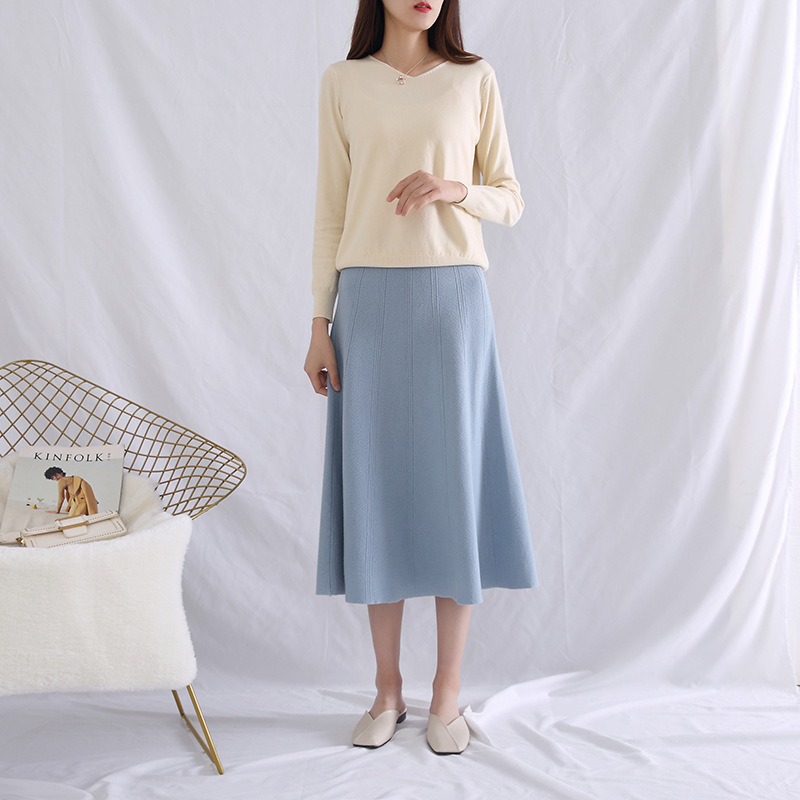 New Style Longuette Women's Pressure Cable Vertical Stripe Knitted Dress Big Skirt A- Line Skirt