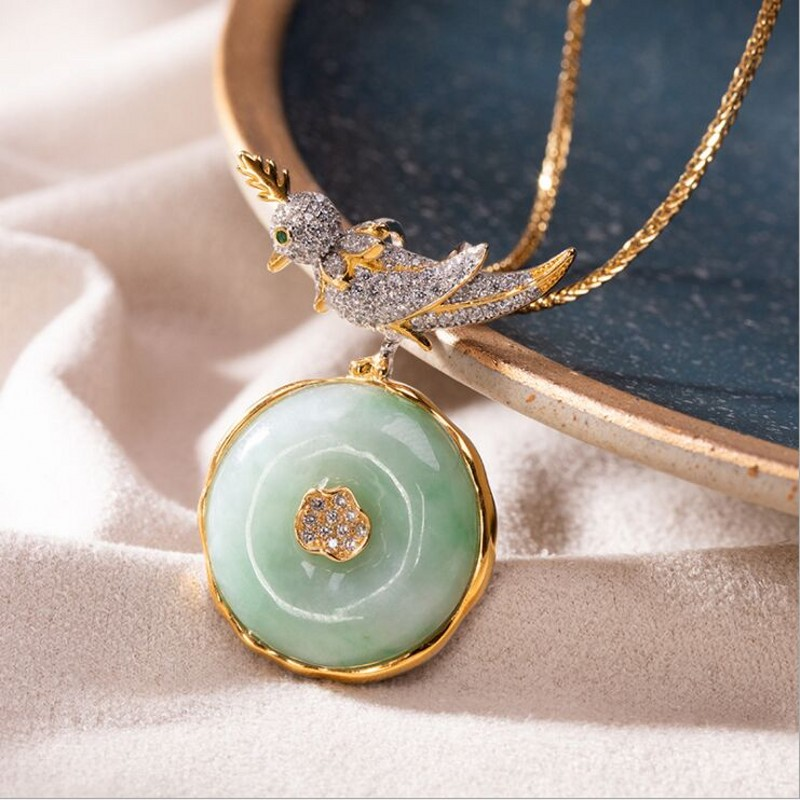 S925 pur argent haute qualité pierre naturelle paix boucle oiseau pendentif tempérament dame clavicule chaîne ensemble femme chaîne pendentif