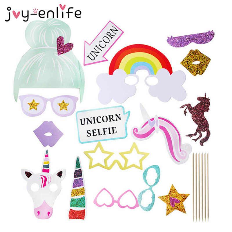 1 Set Unicorn Dekorasi Pesta Photo Booth Alat Peraga Pesta Ulang Tahun Dekorasi Anak-anak Glitter Baby Shower Photobooth Props