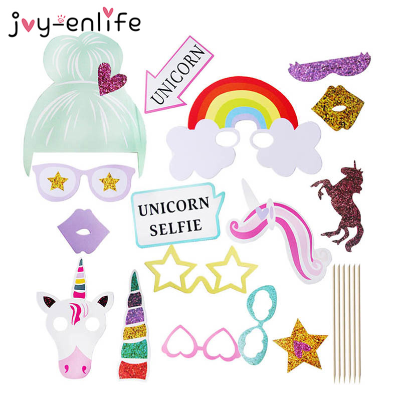 1set Unicorn Party Decoration Photo Booth Props Happy Birthday Party Decoration Kids Glitter Baby Shower Photobooth Props
