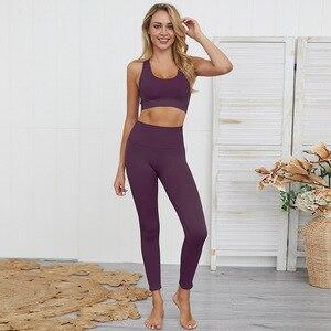 Image 4 - Dikişsiz hyperflex egzersiz seti spor tayt ve üst set yoga kıyafetleri kadın spor atletik giyim spor setleri 2 parça