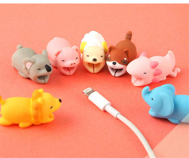 Animal Cable Bite Protector Winder Cute Cartoon Cover Protect Case Wire Organizer Holder dla IPhone Huawei kabel słuchawkowy
