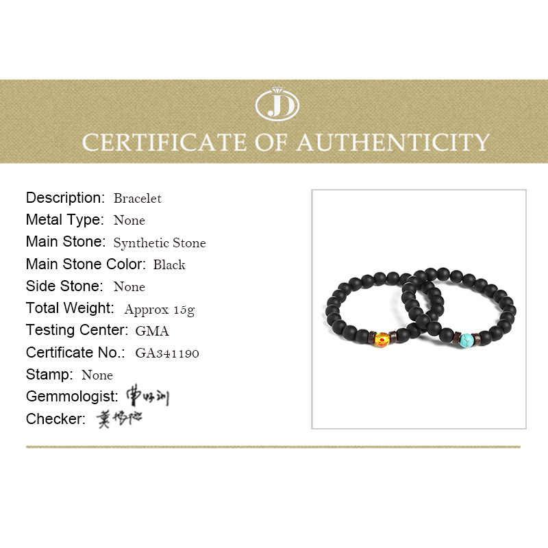JD черный синтетический матовый черный агат браслет с гантелей черный матовый бисер браслет для женщин мужчин фитнес штанга ювелирные изделия Pulseras